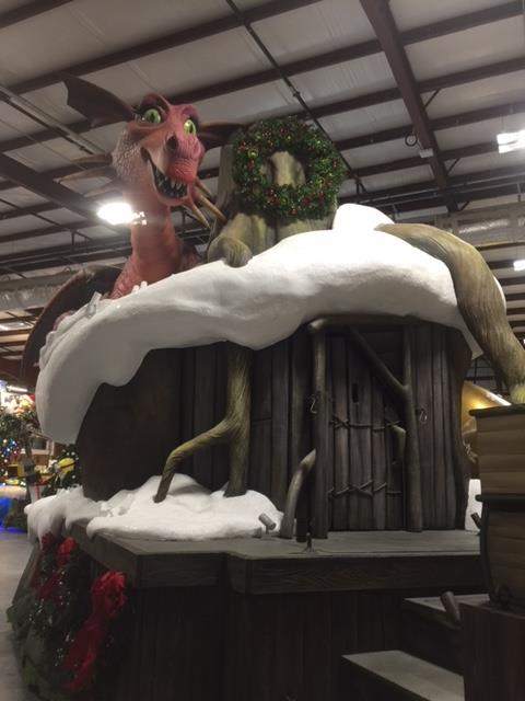 Shrek House and the Dragon Sculptures Universal Studios Christmas Parade