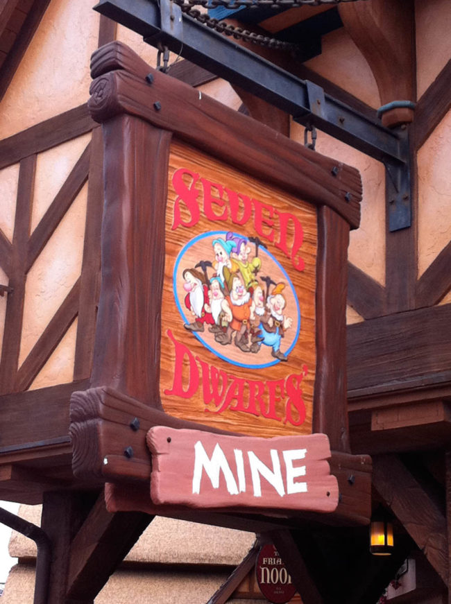 Seven Dwarfs Mine Sign Magic Kingdom Walt Disney World Orlando, Florida