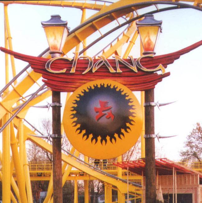 Chang Roller Coaster Sign Six Flags Theme Park Louisville, Kentucky