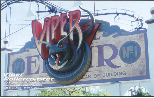 Viper Rollercoaster Sign Six Flags Theme Park