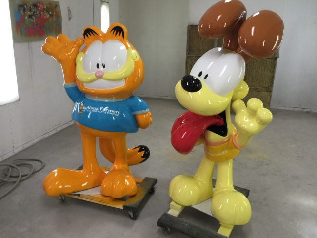 Garfield and Odie Sculptures Indiana Farmers Insurance